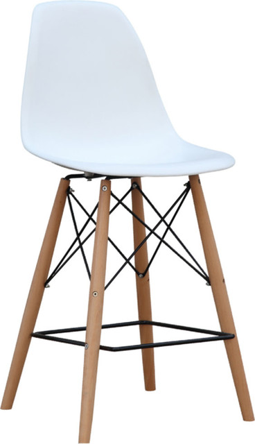 Fine Mod Imports Woodleg Counter Chair Square Base, White by Fine Mod Imports