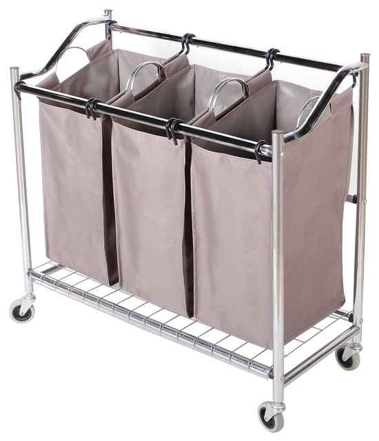 Rolling Laundry Hamper With 3 Section Sorters