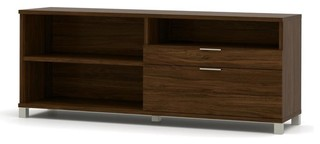 Bestar Pro-Linea Credenza With Drawers, Oak Barrel