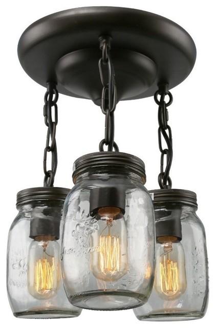Glass Pendant Lighting 3-Light Mason Jar Ceiling Lights Semi Flush Mount Ceiling.