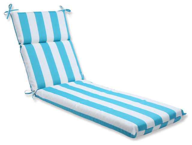Cabana stripe turquoise chaise lounge cushion beach for Blue and white striped chaise lounge cushions