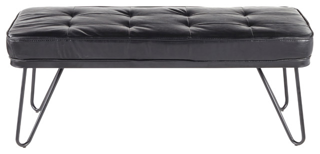 West Contemporary Bench, Black Metal and Black Faux Leather