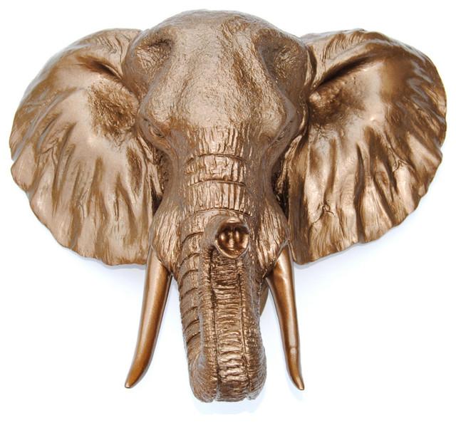 Faux Metallic Large Elephant Wall Decor, Bronze.