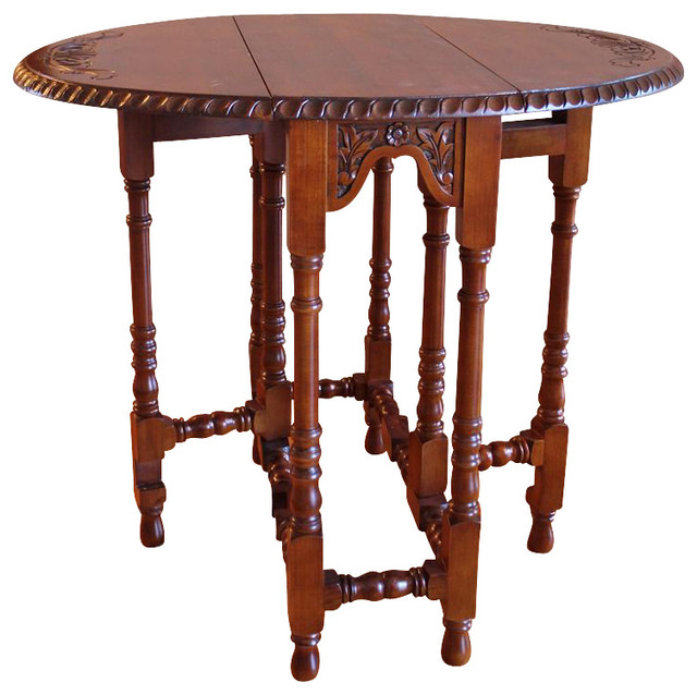 Hand Carved Wood Foldout Console Table Traditional Folding Tables