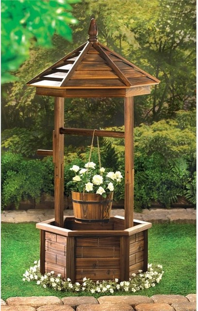 Rustic Wishing Well Planter Rustic Outdoor Pots And