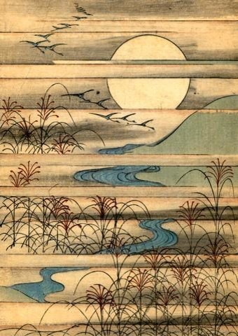 Fine Art Murals Illustration Of Full Moon Over A River Landscape   24  Inches H Asian Part 42