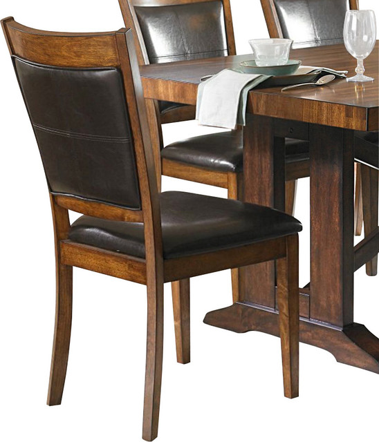 Homelegance Aberdeen Upholstered Side Chair In Dark Brown Vinyl Traditional Dining Chairs