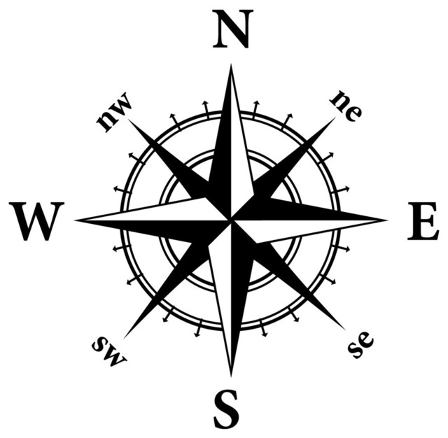 Compass Nautical Design Wall Decal - Contemporary - Wall ...