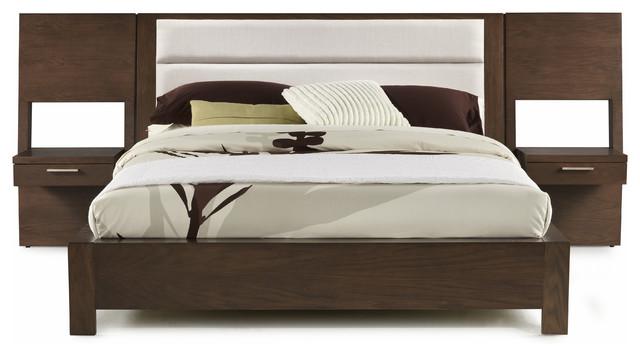 Hudson Upholstered Platform Bed With Panel Night Stands, King.