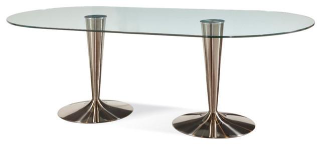BASSETT MIRROR CO Bassett Mirror Concorde Oval Glass Dining Table W Double