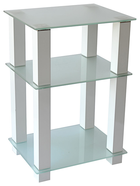 20 extra tall glass and white tv stand and utility table for Tall white end table