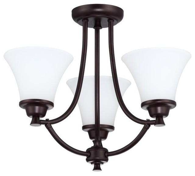 Oil Rubbed Bronze Finish DVI Lighting DVP1112ORB-OP Convertible Semi Flush Mount with Opal Glass Shades