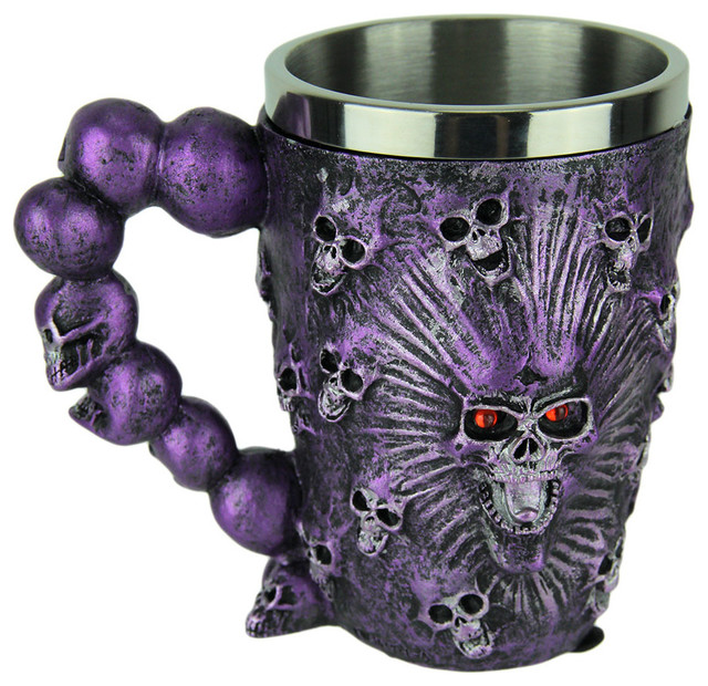 c7fd02704d1 Metallic Purple Ghostly Skulls Mug with Stainless Steel Liner