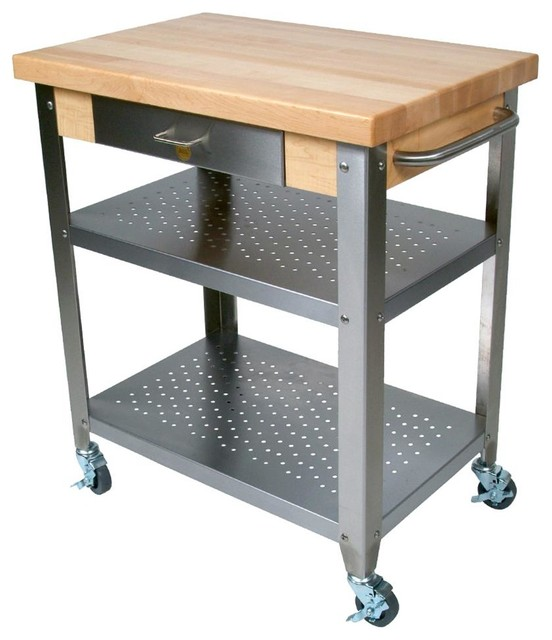 John Boos Maple And Stainless Cucina Elegante Kitchen Cart, No Drop Leaves  Industrial Kitchen