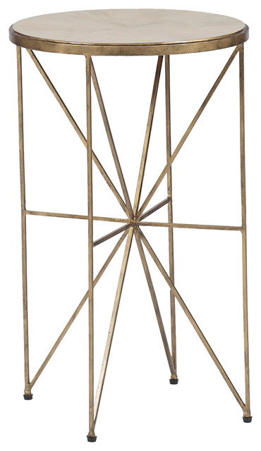 Gabby Nina Antique Brass Round Accent Table Contemporary Side Tables And End