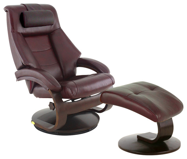mandal 58 leather recliner and ottoman with cervical pillow