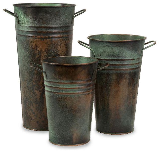 Leva Rustic Green Copper Finish Verdigris Vase Set of 3  : farmhouse vases from www.houzz.com size 640 x 616 jpeg 87kB