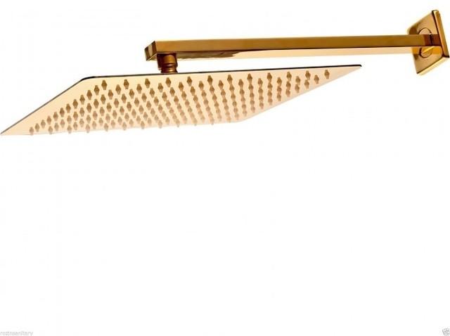 flush mounted rain shower head. 12  Wall Mount Square Gold Finish Rain Shower Head modern showerheads and Modern