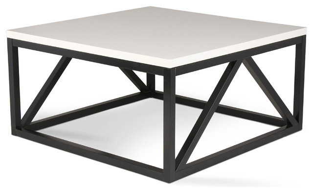 Kaya 2-Toned Wood Square Coffee Table, White and Black