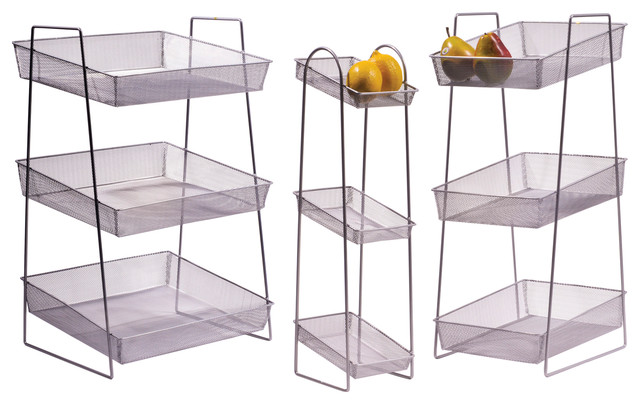 6x8 Silver Mesh 3 Tier Wire Basket Stand 245 Tall Industrial