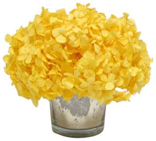 Mercury glass votive yellow hydrangea transitional artificial mercury glass votive yellow hydrangea transitional artificial flower arrangements by bougainvillea mightylinksfo