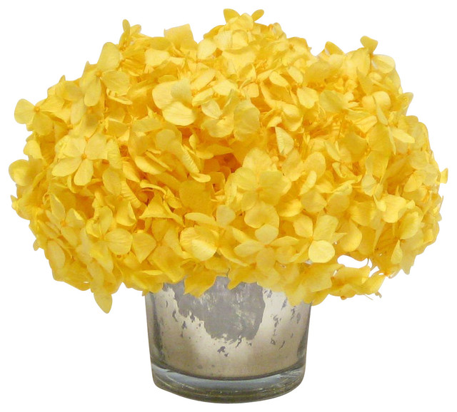 Mercury glass votive yellow hydrangea transitional artificial flower arrangements by