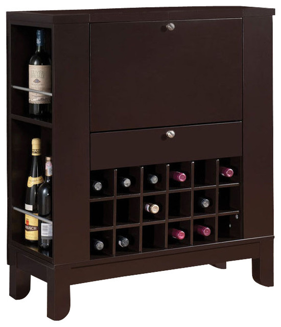 Dark Brown Fold Down Front Shelves Wine Rack Wooden Bar