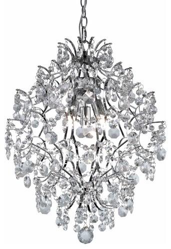 Modern Crystal Chandelier Pendant Light in Chrome Finish