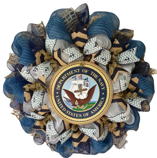 United States Navy Handmade Deco Mesh Burlap Wreath.