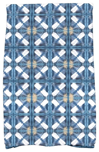 Beach Tile Geometric Print Kitchen Towel Blue Contemporary Dish Towels