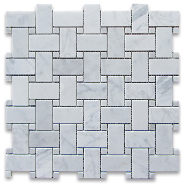 "12""x12"" Carrara White Basketweave Mosaic, Carrara White Dots Honed"