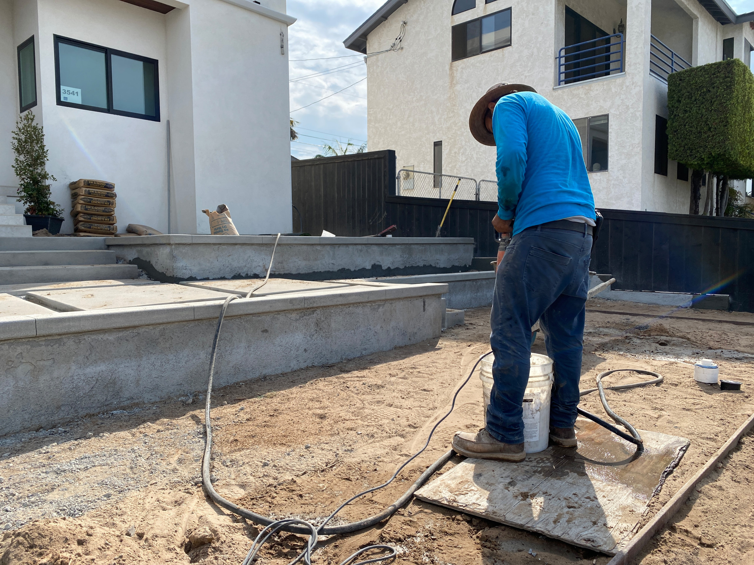 Mixing Stucco for the Retaining Walls