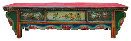 Consigned Chinese Vintage Floral Graphic Low Altar Shrine Offer Table cs2342