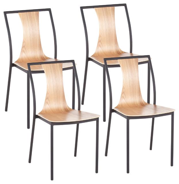 LumiSource Osaka Chair, Black Metal and Natural Wood, Set of 4