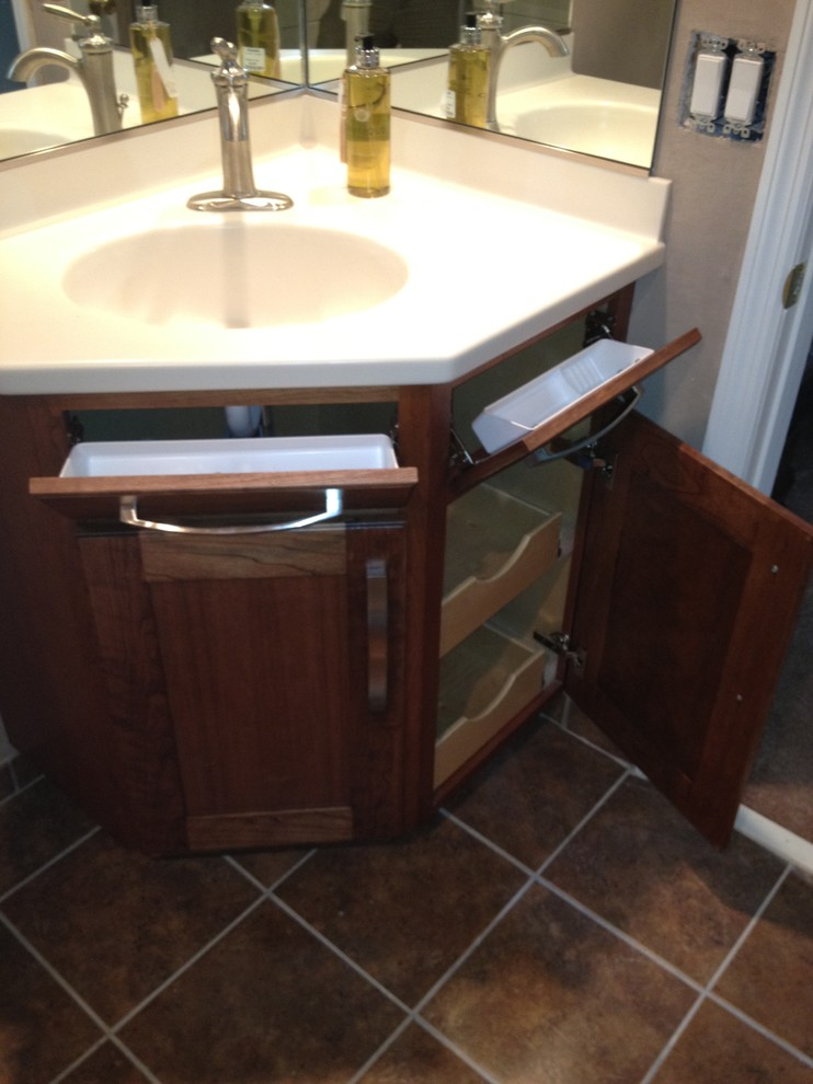 Modern Dark Wood Corner Bathroom Vanity Charleston By Woods Cabinets Llc