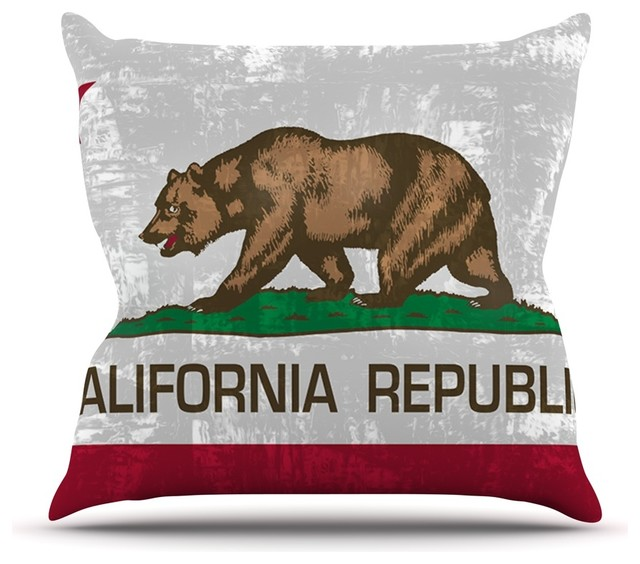 """Bruce Stanfield """"California Flag"""" Gray Red Throw Pillow"""