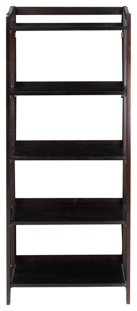 Stratford 3 Shelf Folding Bookcase Espresso 5 Contemporary Bookcases