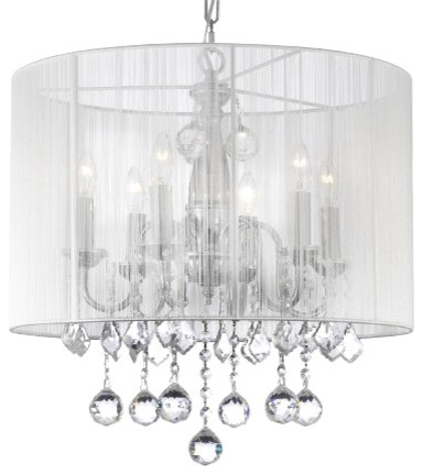 Crystal Chandelier With Large White Shades And 40 Mm Crystal Balls.