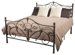 Denise Austin Home San Luis King Champagne Iron Bed, Champagne