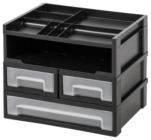 5 Piece Desk Top Organizer Black Contemporary Desk