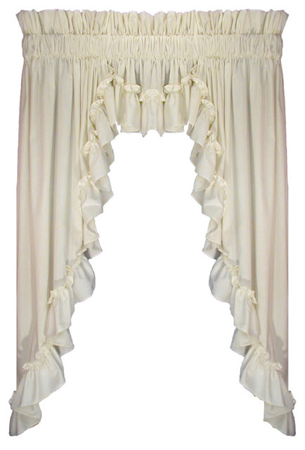 """Stephanie 3 Piece Swags and Filler Valance Window, Natural, 45, 3"""" Rod Pocket"""