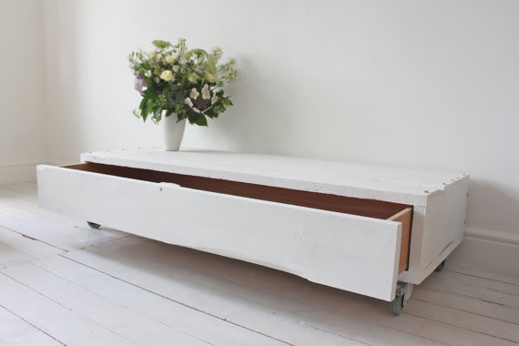 Molton White Painted Reclaimed Scaffolding Board Long Low Coffee Table Industrial Side