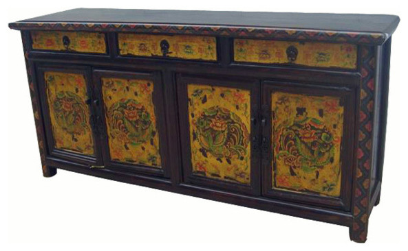 Consigned Antique, Hand Painted Phoenix Sideboard - Consigned Antique, Hand Painted Phoenix Sideboard - Asian - Buffets