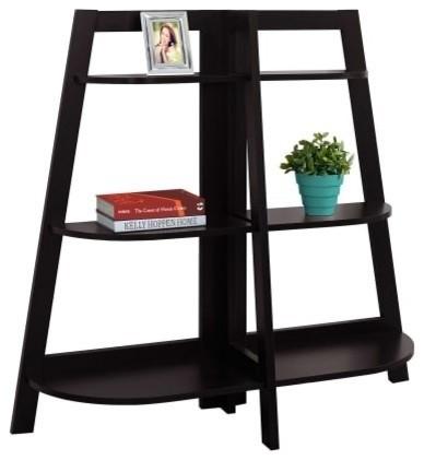 "Monarch Specialties I 2426 47"" Tall 3-Tier Wood Bookcase, Cappuccino."