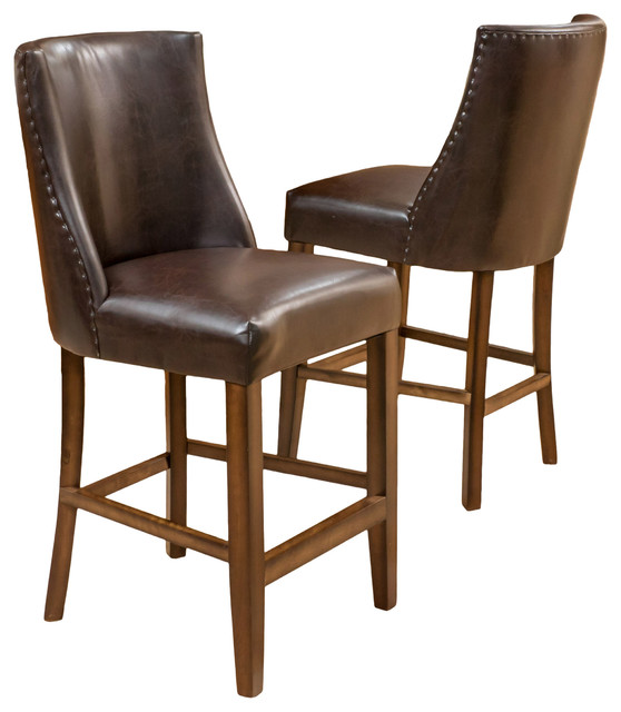 rydel nailhead accent brown leather stools set of 2 transitional bar stools and counter. Black Bedroom Furniture Sets. Home Design Ideas