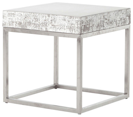 Constantine Concrete And Chrome End Table Industrial Side Tables And End