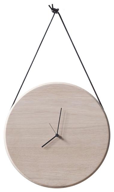 Oak Mux Wall Clock, Soap and Black