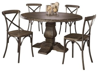 Lorient 5-Piece Round Dining Set With X Back Chairs