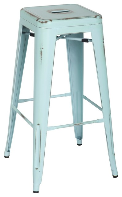 Metropolis Metal Backless Bar Stools Set Of 4 Distressed Blue Farmhouse