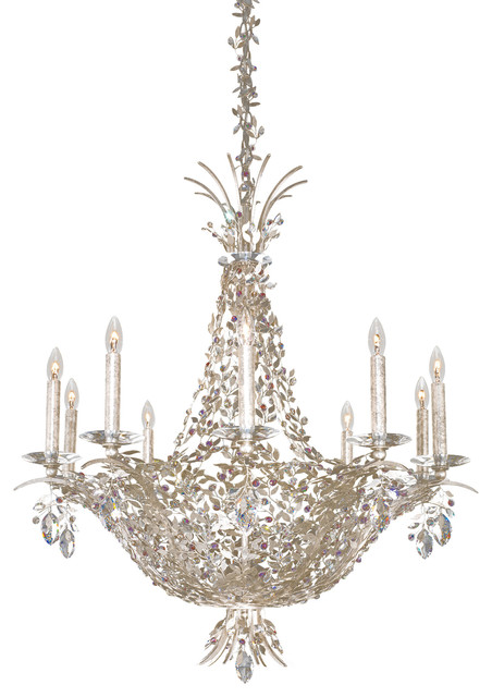 schonbek lighting amytis antique silver 10 light chandelier - Schonbek Lighting